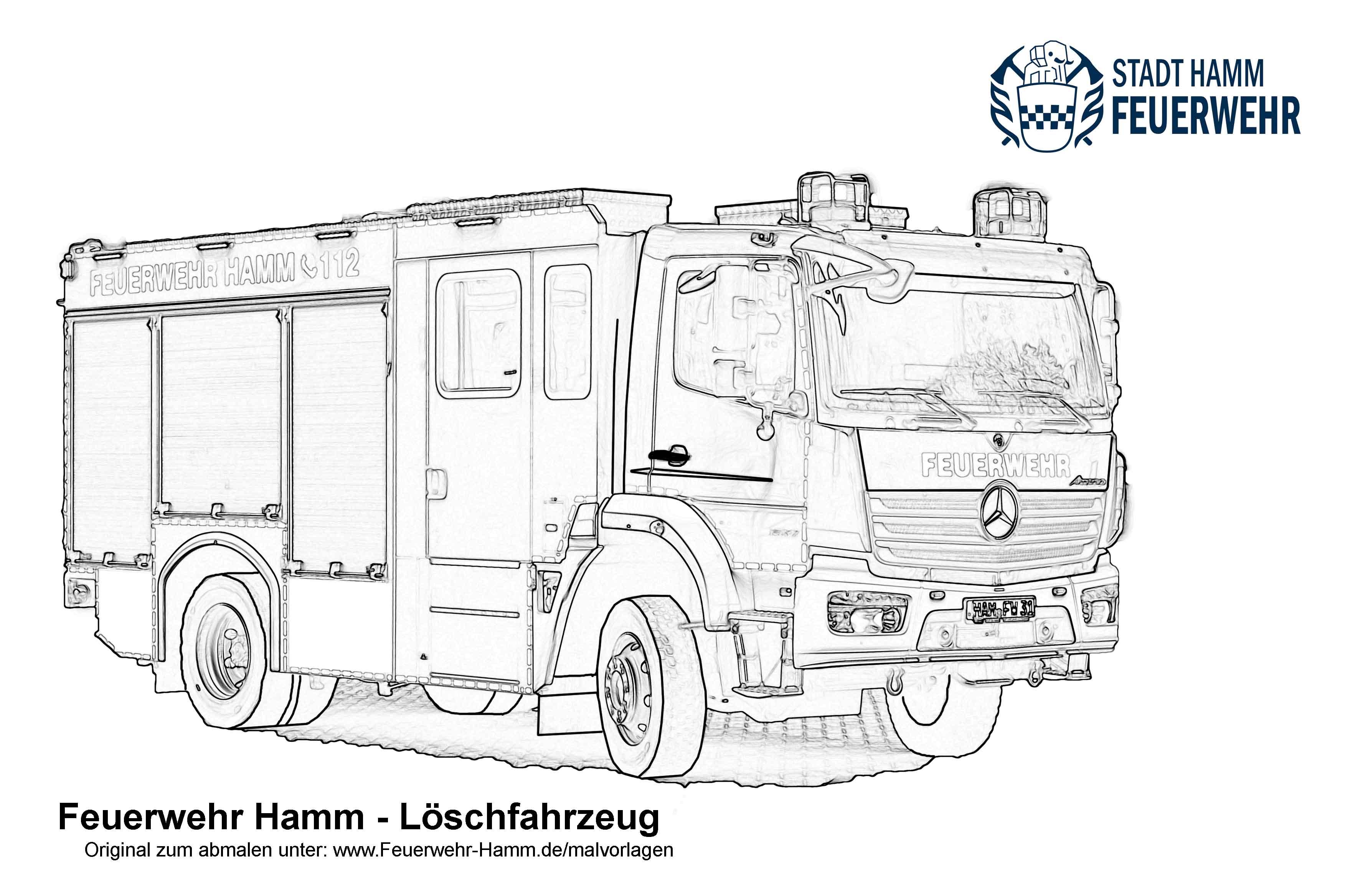 Feuerwehr Hamm  Downloads für Kinder — Malvorlagen